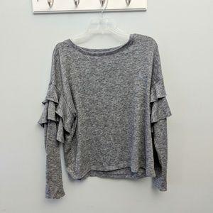 Express heather gray ruffle sleeve sweater